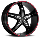 Диск 2Crave No-05 Satin Black w/Red Stripe and Chrome Inserts (Type B)