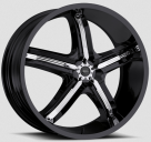 Диск Milanni 459 Bel Air 5 Gloss Black w/ Chrome Inserts